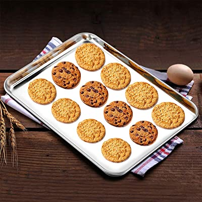 Baking Cookie Sheets Pans Tray Professional Stainless Steel Non Toxic Set of 2