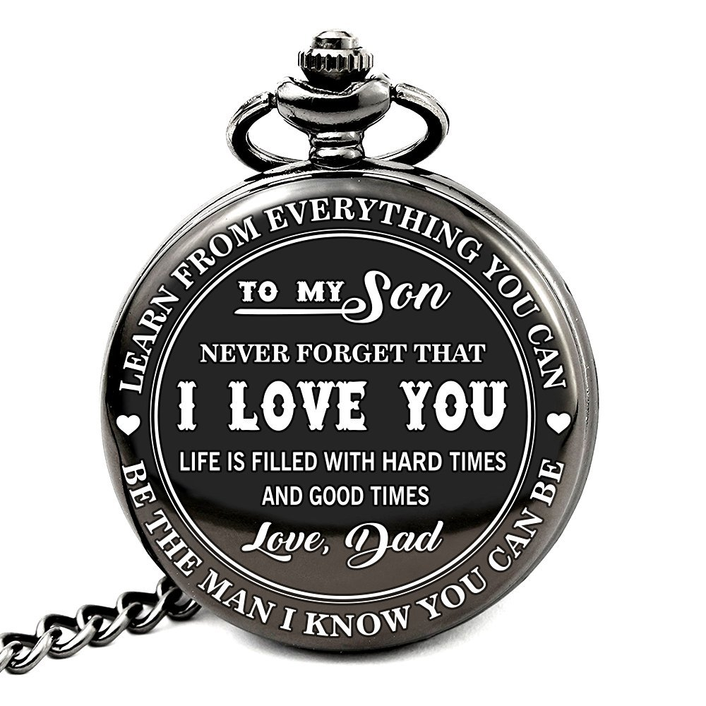 To My Son - Love Dad Pocket Watch with chain Birthday Gift Ideas To Son From Father - Black by GPlee Gift (Image #4)