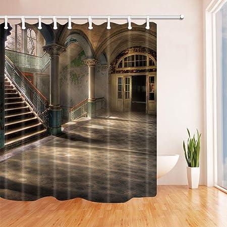 SHUHUI Casa Arte Europeo Cortina baño Casa con escaleras Antiguas época Obra Tejido Cortina Ducha para baño 180X180 CM Cortinas Ducha: Amazon.es: Hogar