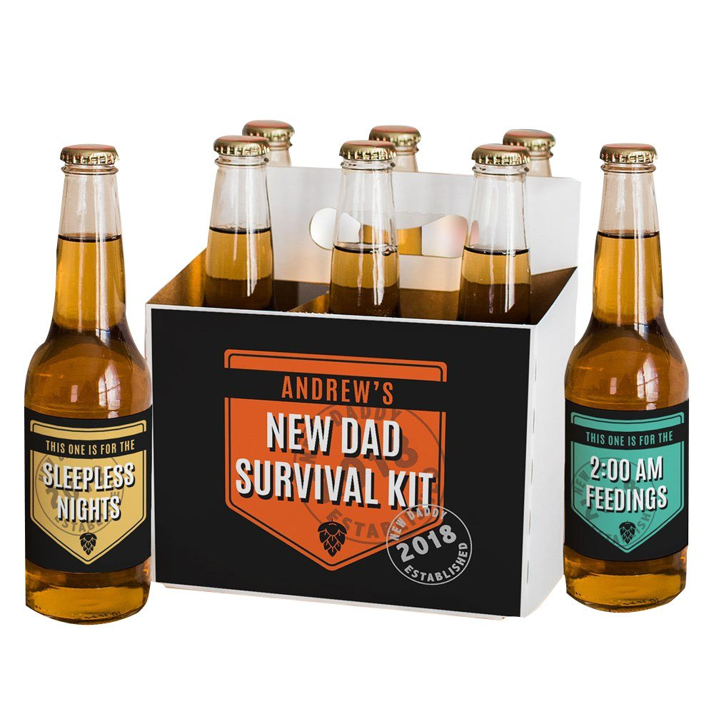GiftsForYouNow New Dad Survival Kit Personalized Beer Labels and Carrier Set