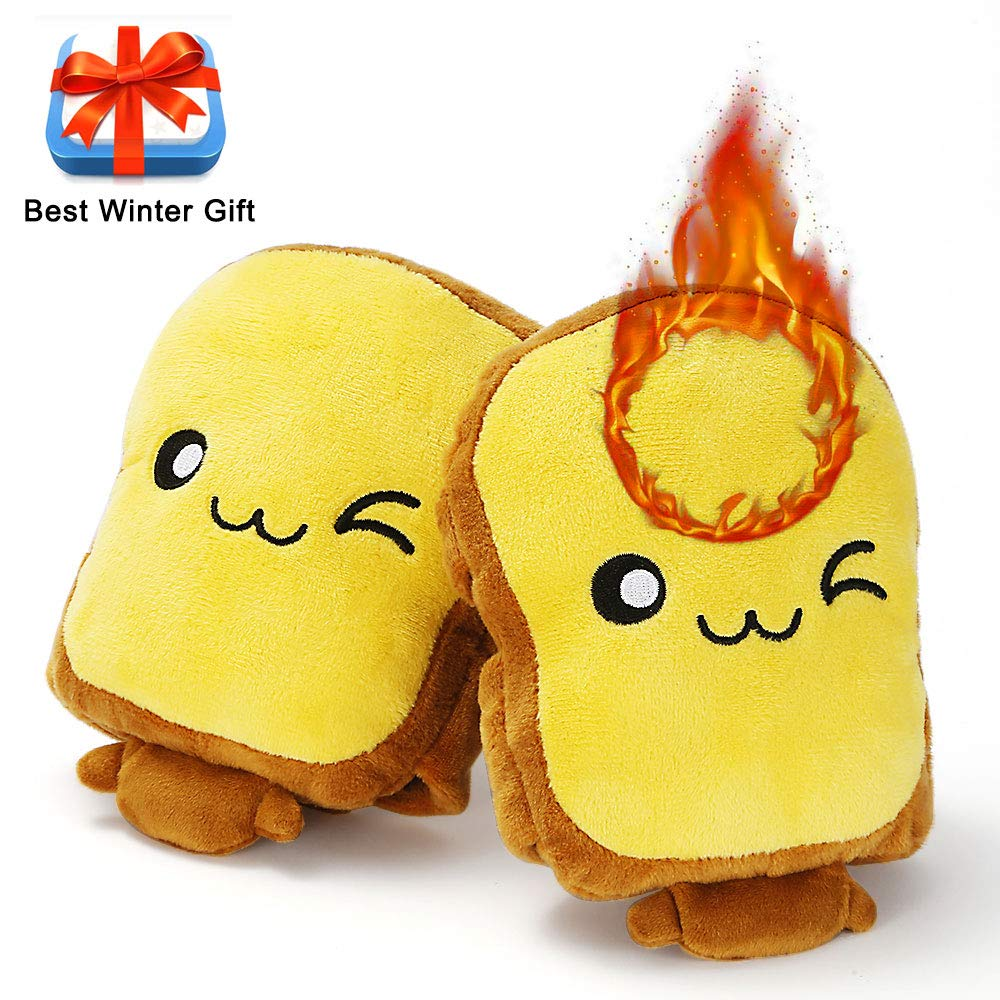 Eaterhom Toast USB Hand Warmers, Super Cute Fingerless Heated Typing Gloves USB Powered Wearable Plush No Finger Laptop Warmer Mittens for Women and Children-Cold-Proof and Best Winter Gift- Yellow by Eaterhom