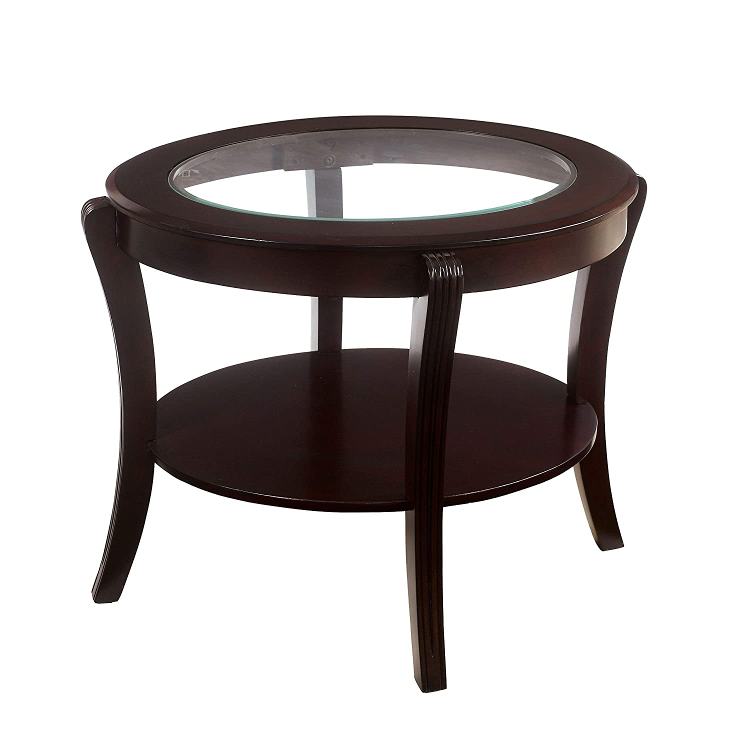 Furniture of America Astrid Contemporary Glass Top End Table, Espresso