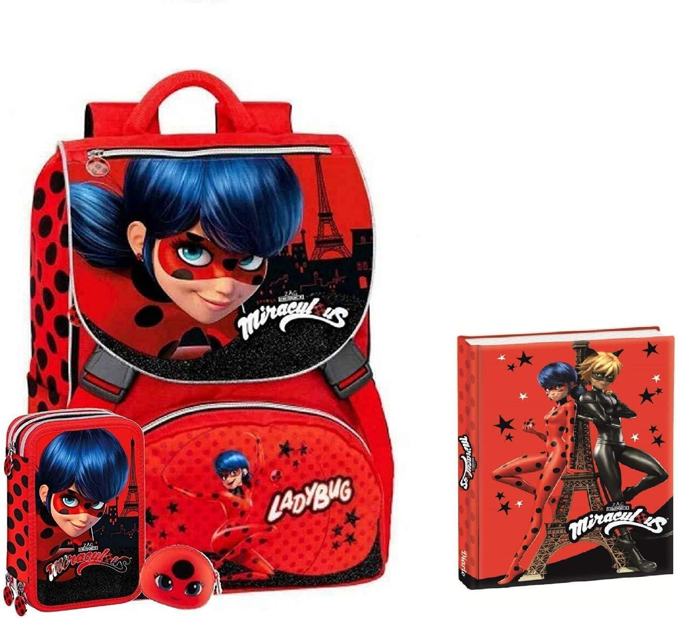 Schoolpack Mochila Escolar Miraculous Ladybug Extensible + Monedero Kiki + Estuche Escolar 3 Cremallera Rojo + Diario Escolar No Fecha 13 x 18 cm Cuadros Rojo Negro Glitter Chat Negro: Amazon.es: Equipaje