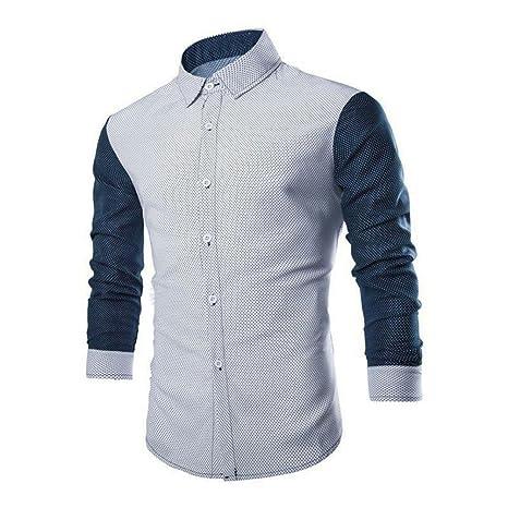 Camisas hombre Moda de los hombres costura de punto de onda camisa de manga larga,