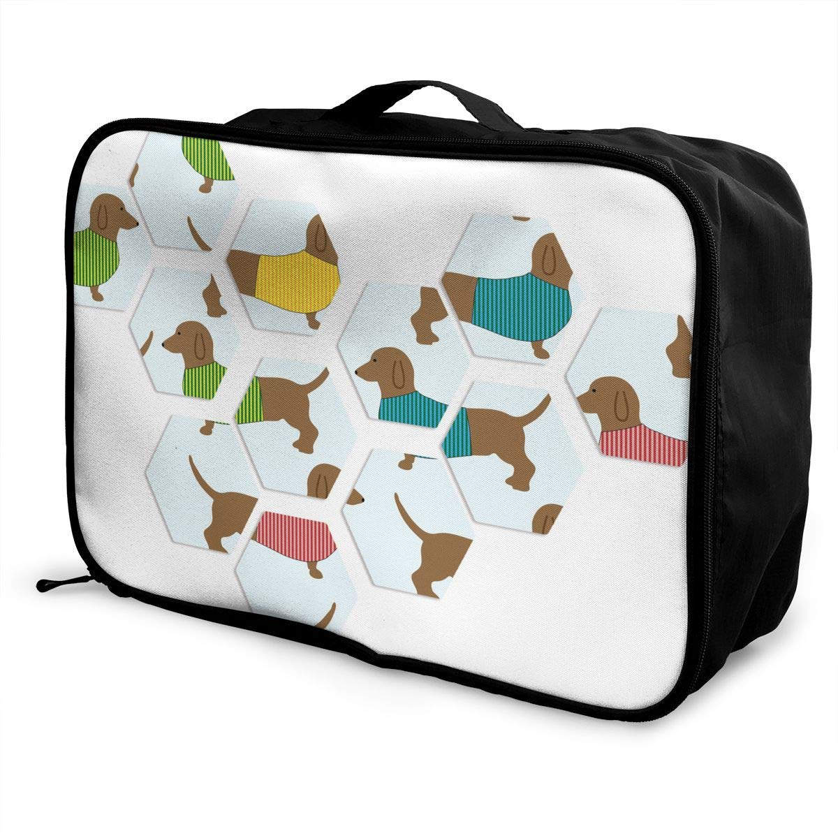 ADGAI Dog Puzzle Canvas Travel Weekender Bag,Fashion Custom Lightweight Large Capacity Portable Luggage Bag,Suitcase Trolley Bag
