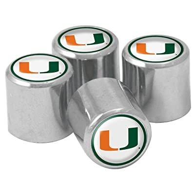NCAA Miami Hurricanes Metal Tire Valve Stem Caps, 4-Pack: Sports & Outdoors