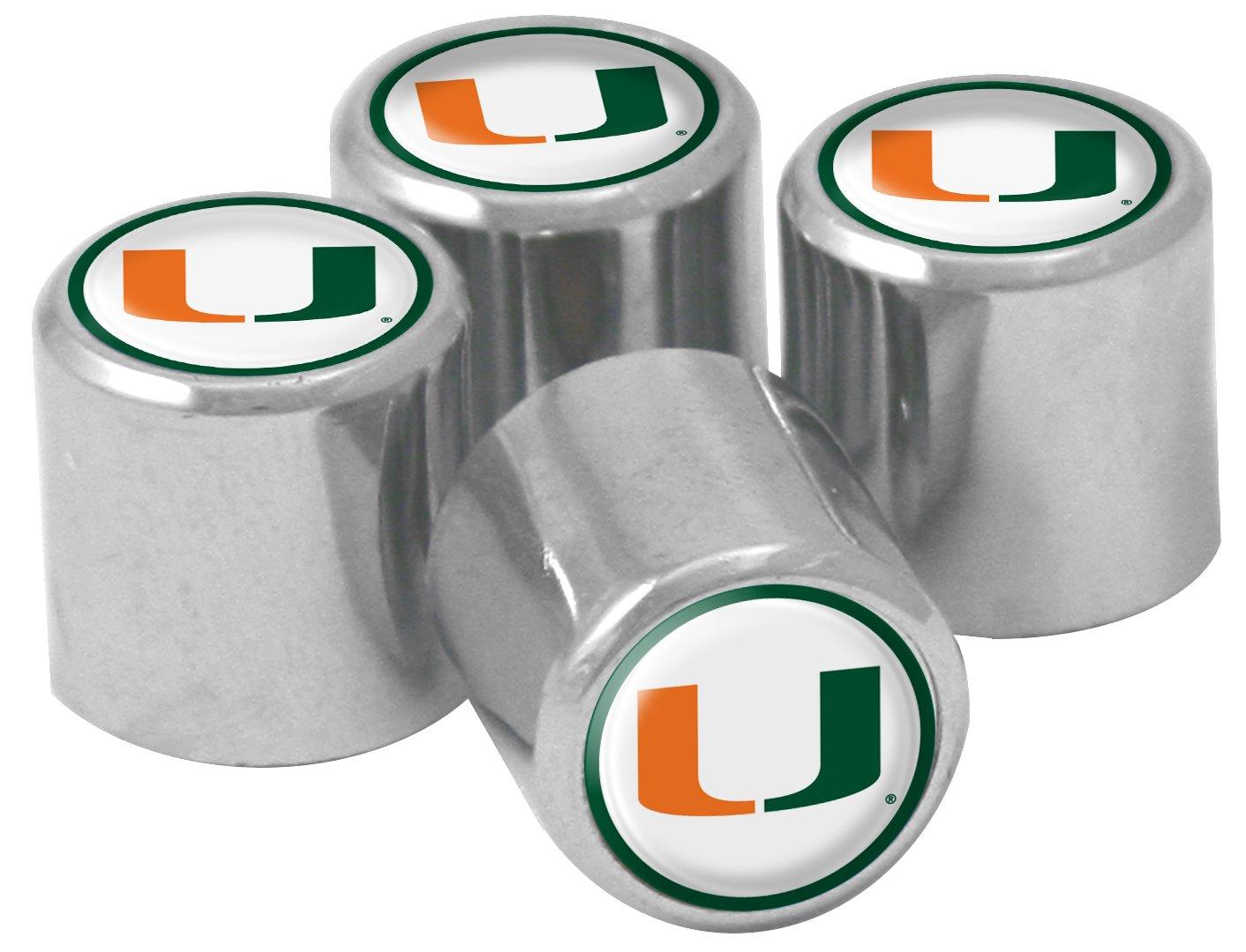 NCAA Miami Hurricanes Metal Tire Valve Stem Caps, 4-Pack by Stockdale (Image #1)
