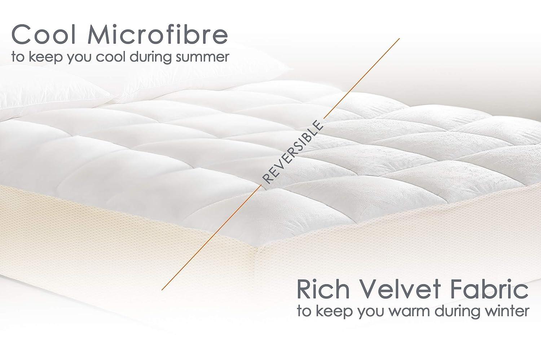 Lujo ortopédica antialérgico para colchón de cama Seersucker (efecto cuadrícula Topper Protector de colchón acolchado relleno, tamaño muy grande (Super ...