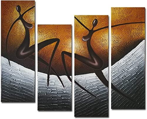 Wieco Art African Dancers Large Modern Stretched and Framed 100 Hand Painted Contemporary Artwork Abstract Oil Paintings on Canvas Wall Art for Living Room Bedroom Home Decorations Wall Decor XL