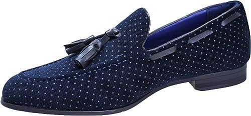 mostro Amati utile  Scarpe mocassini uomo class blu scuro invernali Oxford in fantasia a pois:  Amazon.it: Scarpe e borse