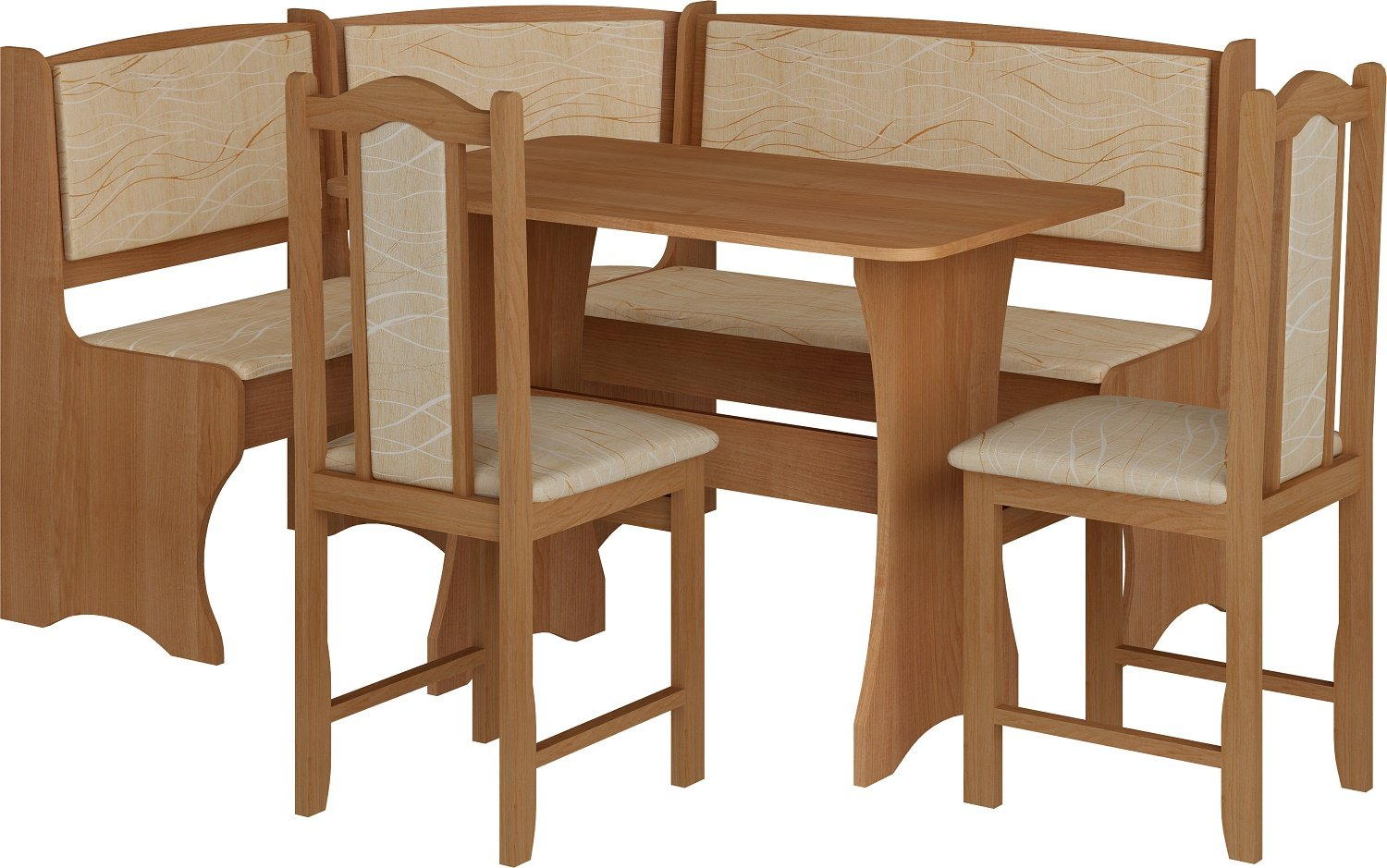 Breakfast Kitchen Nook Table Set, Bench Seating With Storage and Chairs, Alder Color