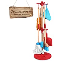 Kids Cleaning Set 7 Piece - Wooden Detachable Toy Cleaning Set Includes Kid-Sized with Housekeeping Broom, Mop, Duster…