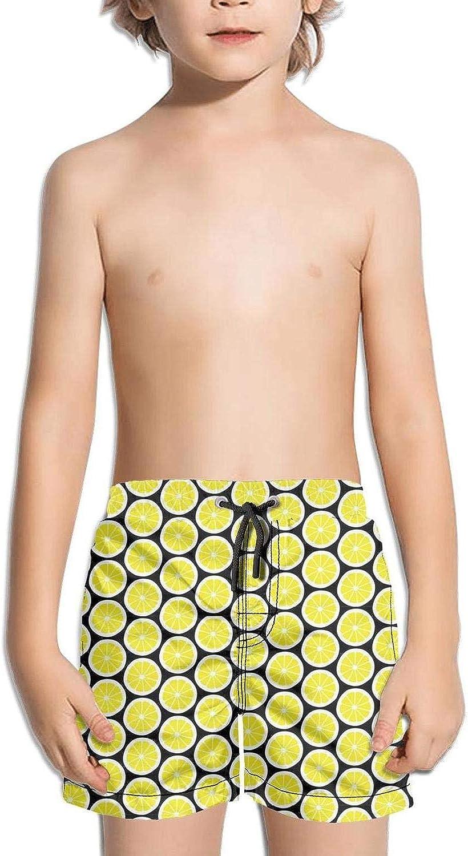 SYBING Lemon Pictures White Boys Funny 4-Way Stretch Waterproof Surfing Hawaiian Beach Board Shorts