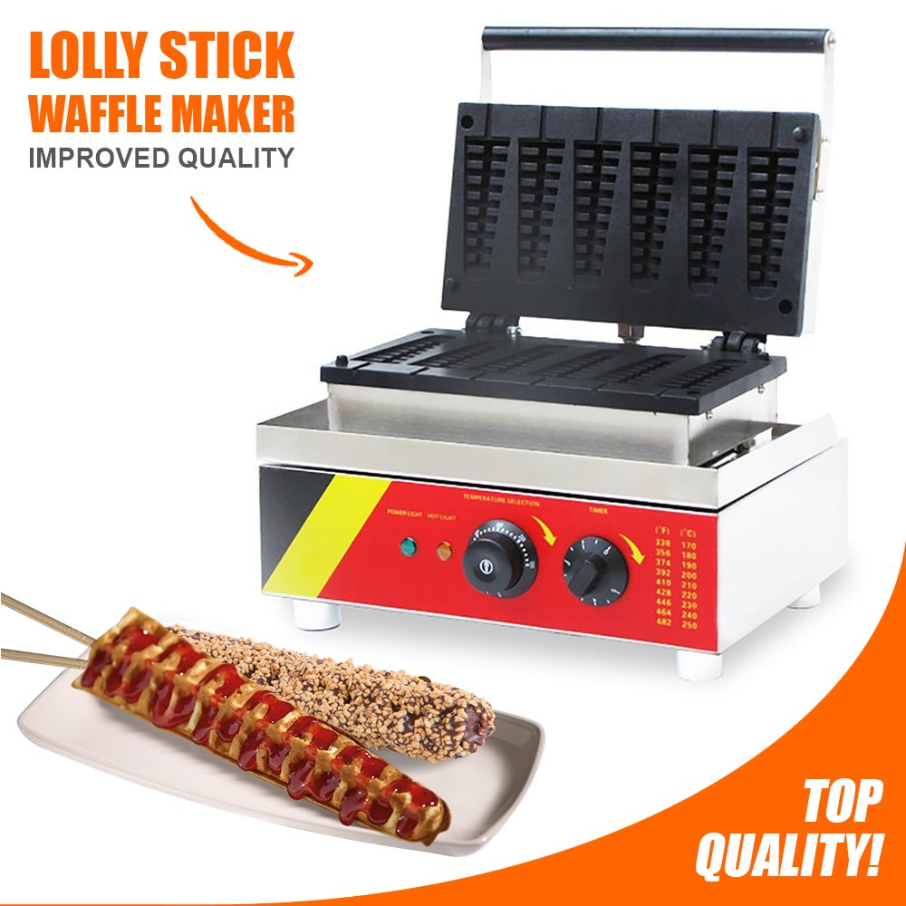 Lolly Stick Waffle Maker 6 pcs | ALDKitchen 110V Commercial Quality, Teflon Coated Non-Stick, Stainless Steel