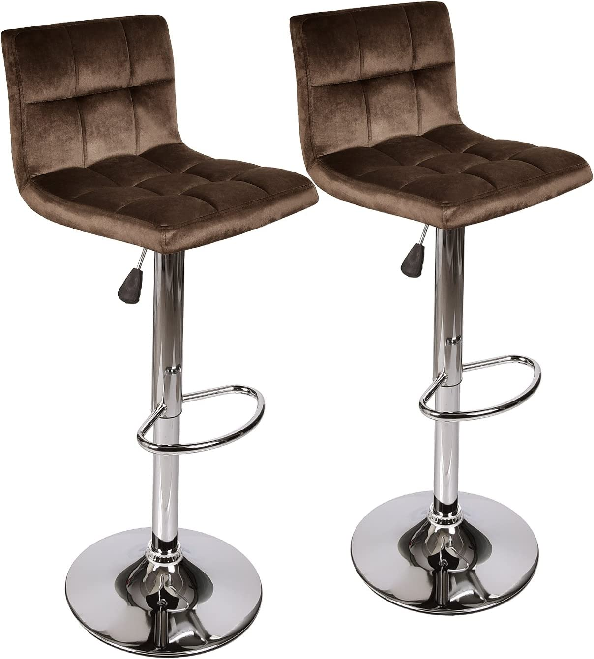 ELEWISH Pub Bar Table Round White MDF Swivel Top with Chrome Finish Base Adjustable Height for Counter Brown Velvet
