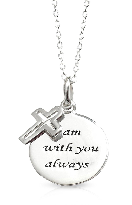 LJ Designs Halskette mit rundem Anhänger mit Gravur I Am Always With You und kleinem offenem Kreuz-Anhänger, Sterling-Silber 925, christliches Geschenk, inklusive Schmuckbox, 00327 00327. AP2011071