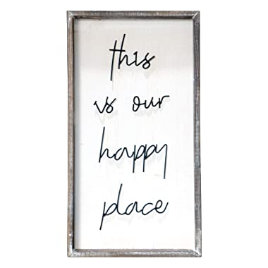 Barnyard Designs This is Our Happy Place Wall Sign, Rustic Decorative Hanging Wood Sign Home Decor 30  x 16.5""