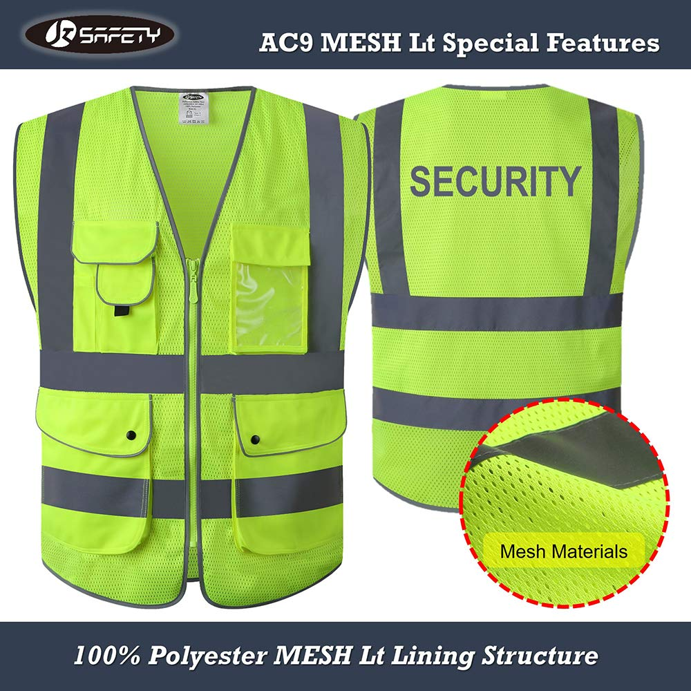 Supply Black Mesh Vest High Visibility Pvc Reflective Tape Zipper Front Safety Clothing