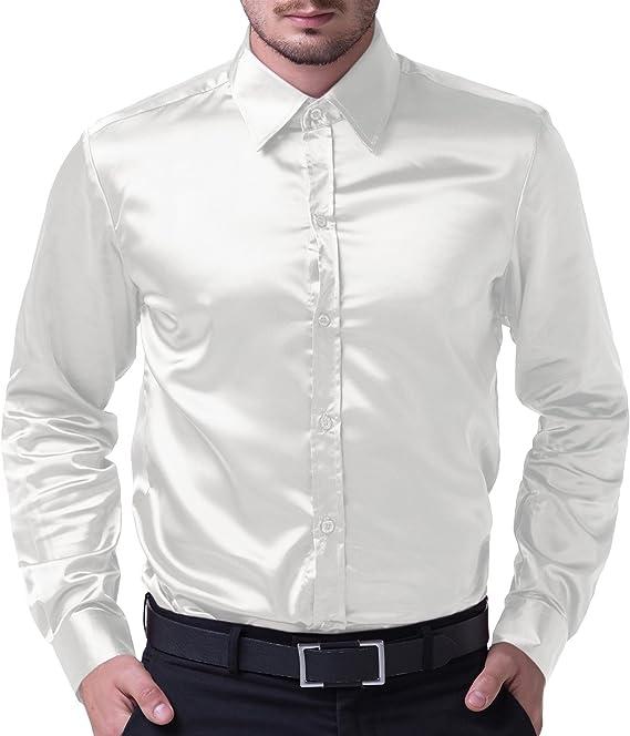 Camisa de Hombre Camisa Delgada, Manga Larga, elástica, cómoda, tamaño L, Blanca: Amazon.es: Ropa y accesorios