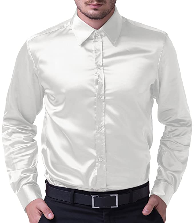 1960s Inspired Fashion: Recreate the Look PAUL JONES Mens Slim Fit Silk Like Satin Luxury Dress Shirt $18.99 AT vintagedancer.com