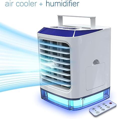 Aire Acondicionado Portátil de [Vhool-EU] 4 en 1 Mini Ventilador Humidificador Purificador, USB Air Cooler con 3 Velocidades y 7 Colores LED Luz para Hogar Oficina ...