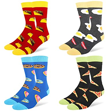 4e605077b Men s Funny Novelty Crew Dress Socks Crazy Food Taco Donuts Egg Pizza  Cotton Socks 4 Pack