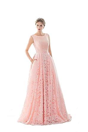 KekeHouse® Damen Kleid A-Linie Geblümt Ärmellos Lang Spitze Kleid ...