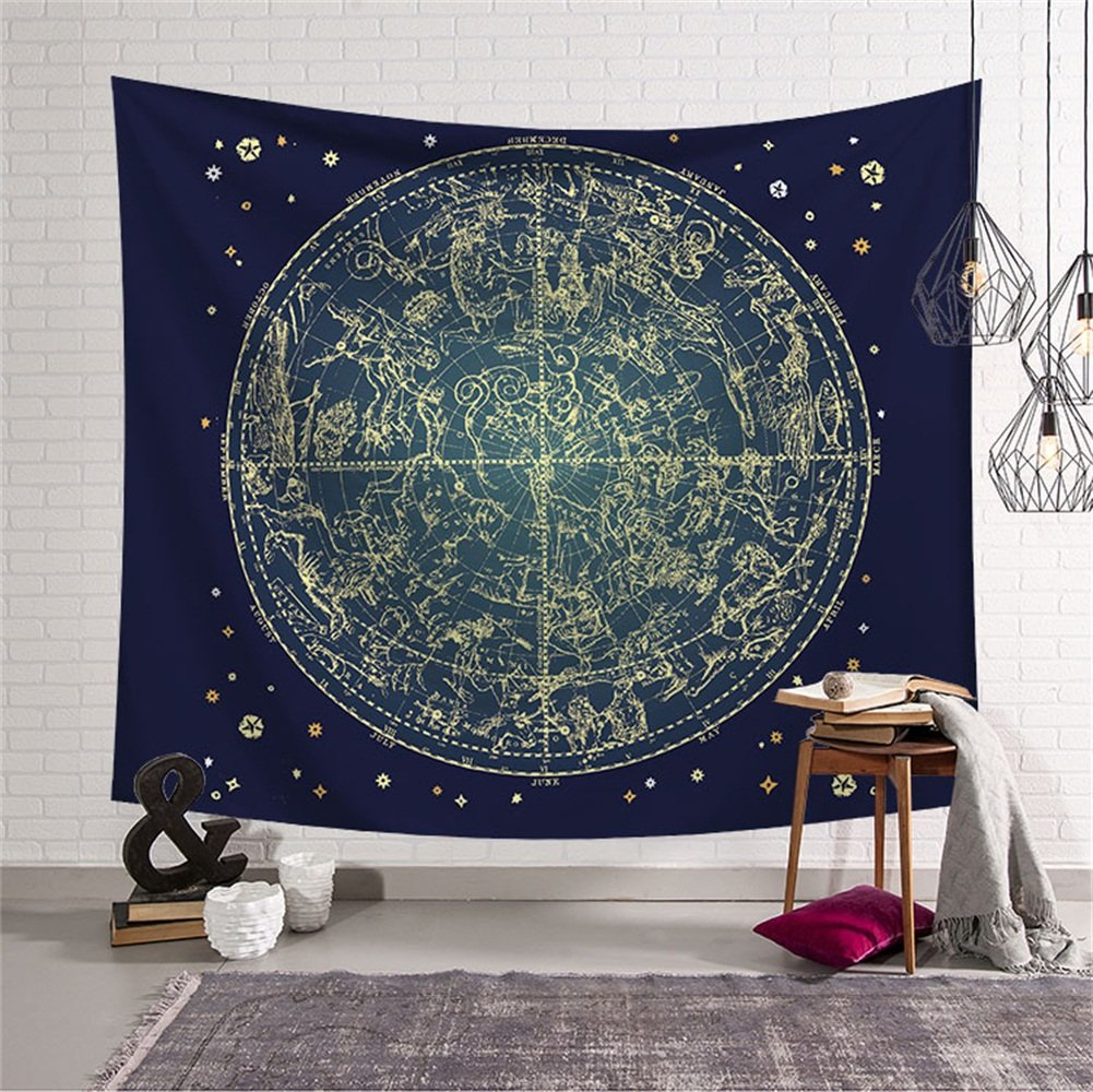 Zodiac Horoscope Celestial Tapestry Wall Hanging Astrology Hippie Ethnic Decorative Art Window Curtain Table Cover Bedspread Beach Towel HYC44-1-L