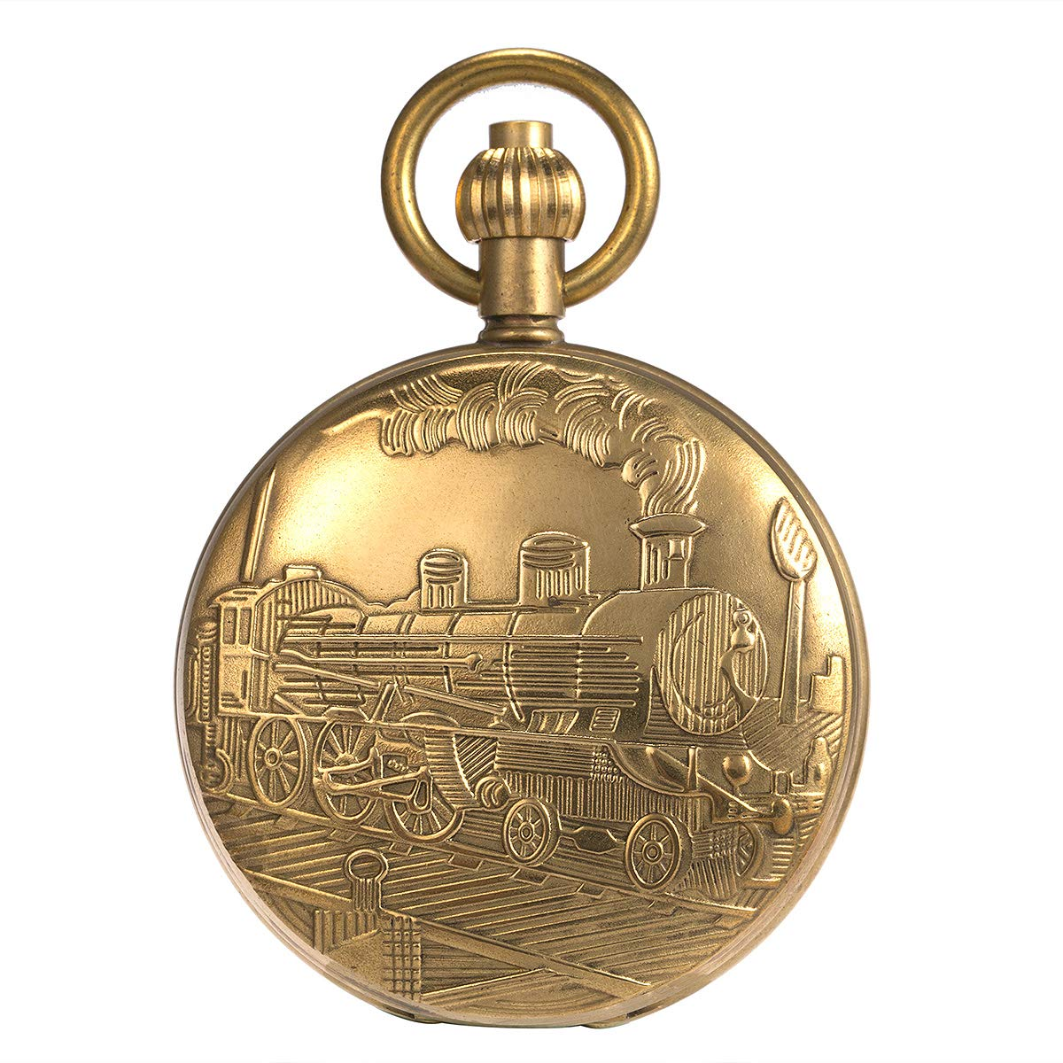 Skeleton Pocket Watch - Pure Cooper Finish Covered Horizontal Phases Moon Sun 24-Hour Coper Chain by ManChDa