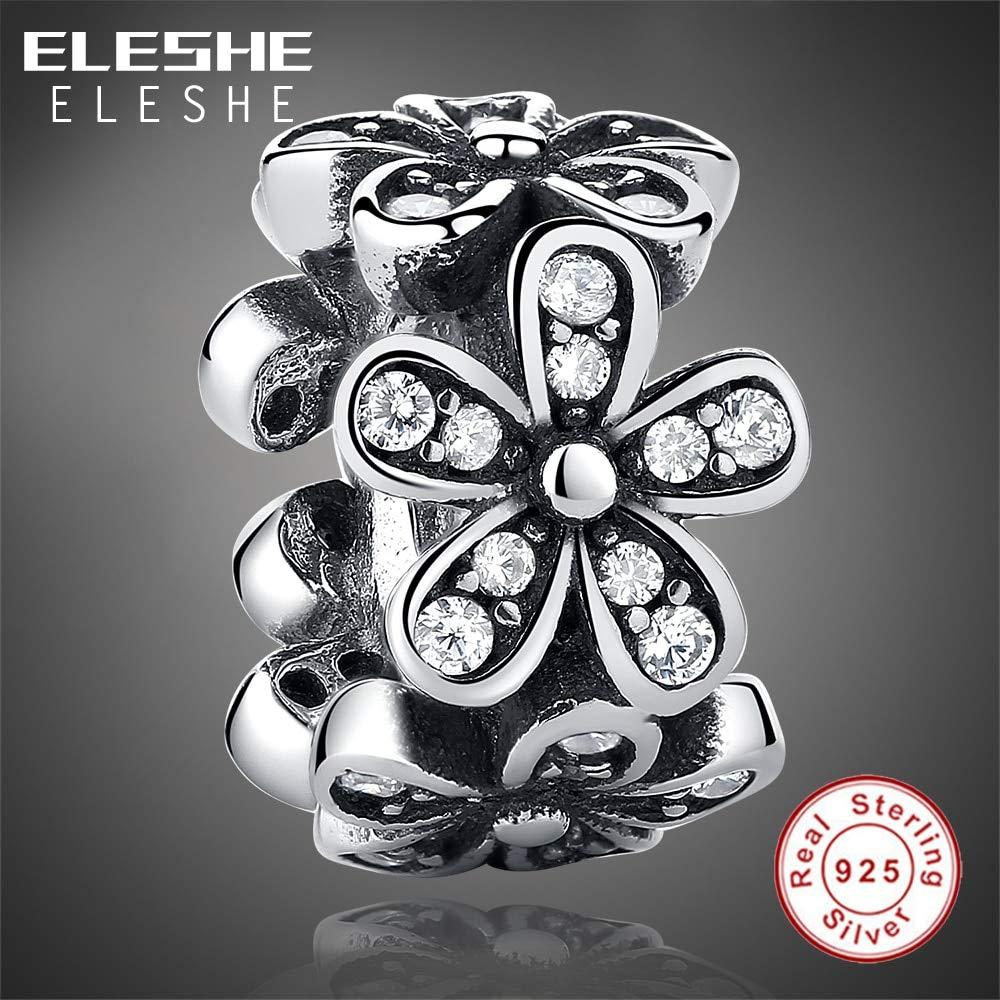 Calvas 100/% 925 Sterling Silver Dazzling Daisies Flower /& Clear CZ Spacer Bead Charm fit Calvas Bracelet /& Necklace DIY Jewelry