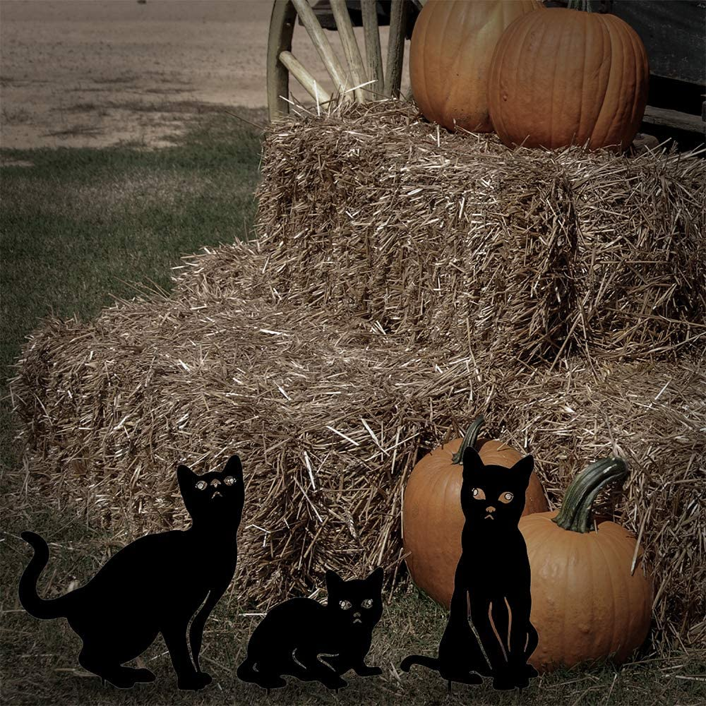 Black Cat Silhouette Halloween Yard Stakes Garden Decor Outdoor Statues with Reflective Eyes Halloween Cat Decorations Set of 3 hogardeck Metal Cat Decorative Garden Stakes