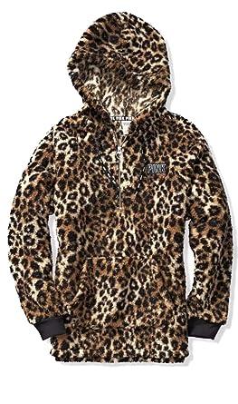 Victoria s Secret Pink Hooded Sherpa Quarter Zip Cozy Pullover ... 9cc3c3ce9