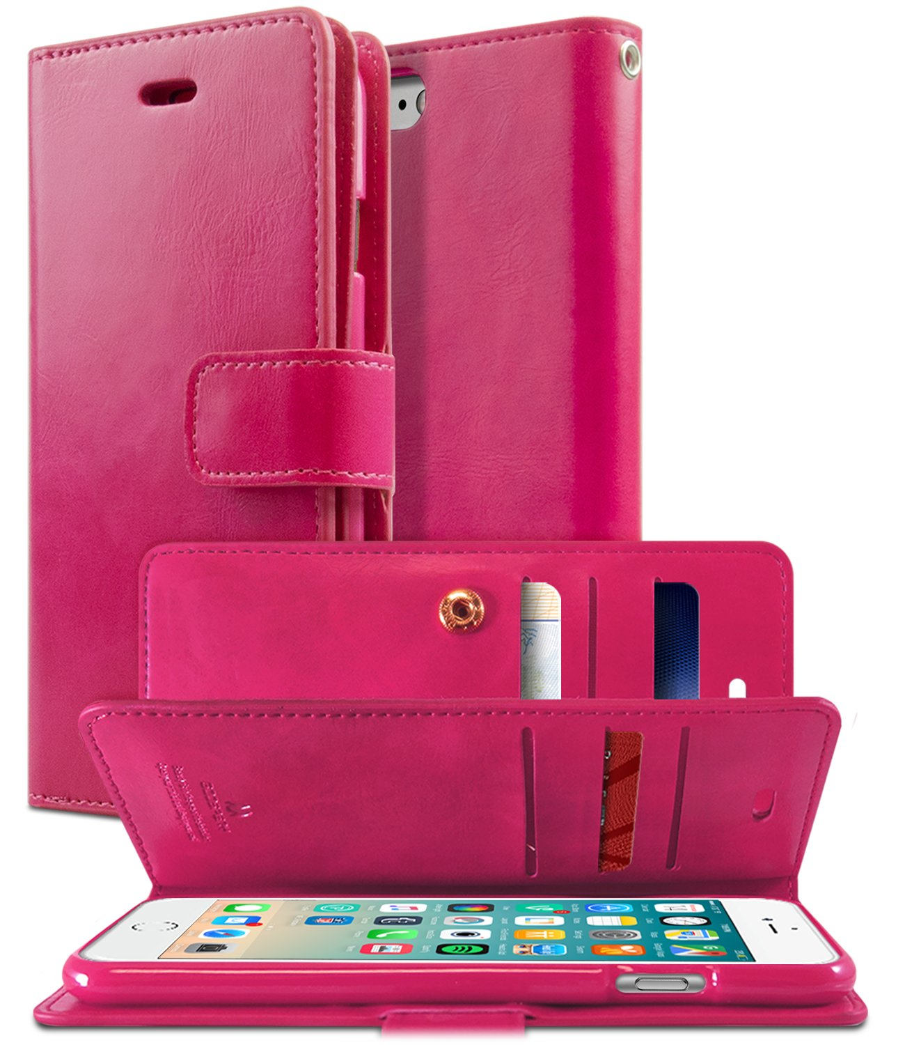 Goospery Iphone 8 Case 7 Extra Card Plus Blue Moon Flip Hotpink Cash Slots Mansoor Diary Double Sided Wallet Pu Leather Tpu Casing Drop