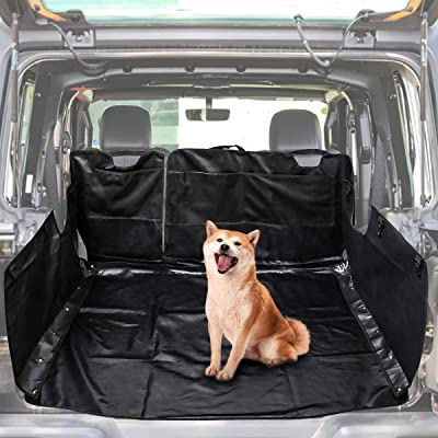 LE-JX Black Hammock Style Dog Car Seat Cover Compatible with 2007-2020 Jeep Wrangler JK JKU 4-Door, Pet Trunk Liner Mat Cover,Multipurpose Storage Case Cargo Cover (Non-Slip/Waterproof): Automotive
