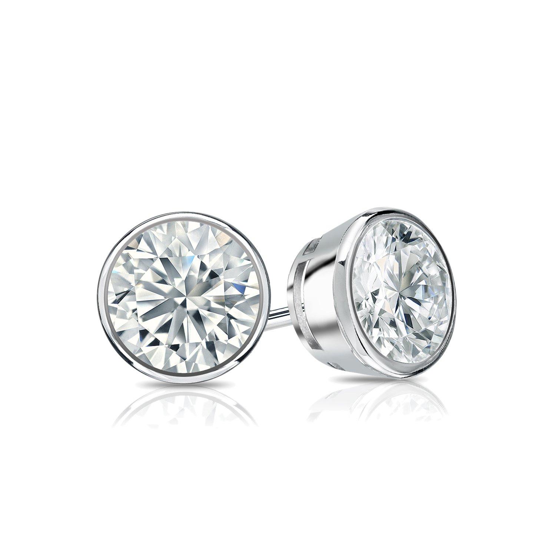 b3e07c197c6 Amazon.com: Diamond Wish 14k Rose Gold Bezel-set Round Diamond Stud ...