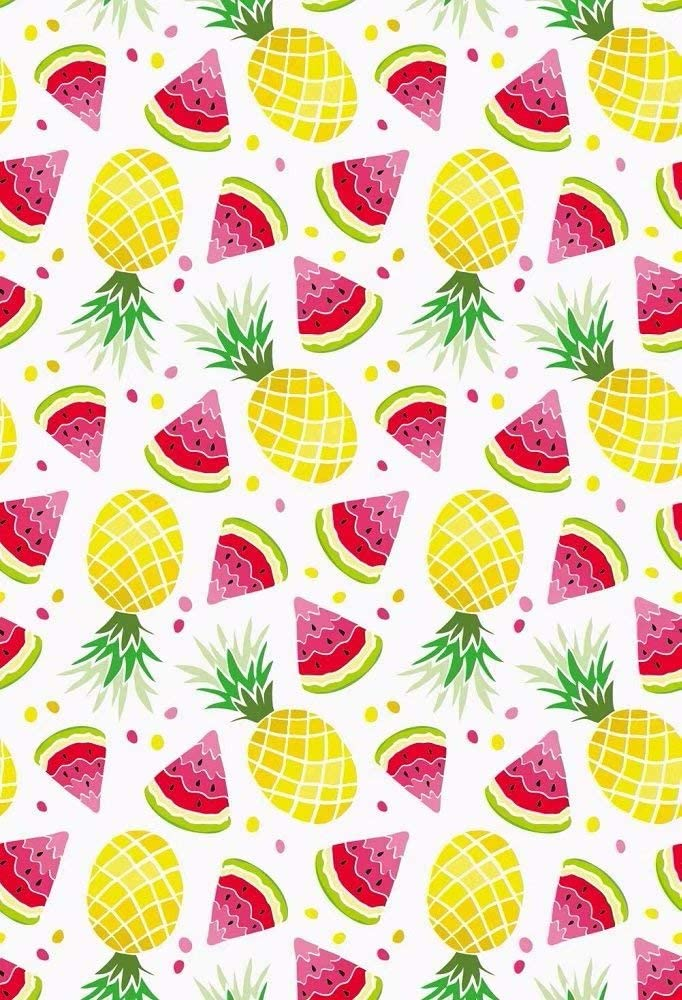 10x15 FT Backdrop Photographers,Summertime Themed Abstract Patterned Pines Beach Fruits Doodle Style Drawing Background for Baby Shower Birthday Wedding Bridal Shower Party Decoration Photo Studio