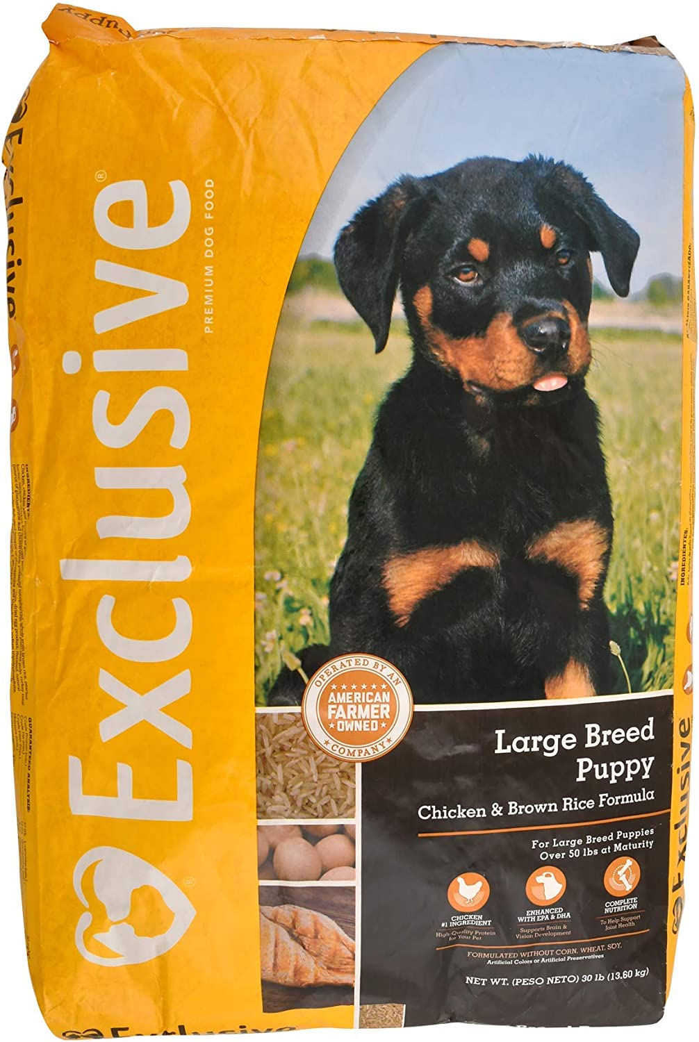 Exclusive | Large Breed Puppy Food | Chicken and Brown Rice Recipe | Nutritionally Complete - 30 Pound (30 lb.) Bag