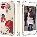 Cutebe Shockproof Hard PC+ TPU Bumper Case Scratch-Resistant Cover for Apple iPhone 7 Plus(2016)/iPhone 8 Plus(2017) Rose Flower