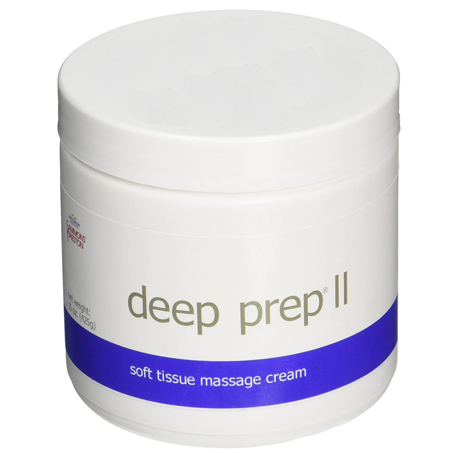 Rolyan Deep Prep II Cream, Professional Massage Cream with Coconut Oil, Beeswax-Free, Long Lasting Creme with Waxy Feel for Relaxing Full Body Massage and Pain Relief, 15 Ounce Jar