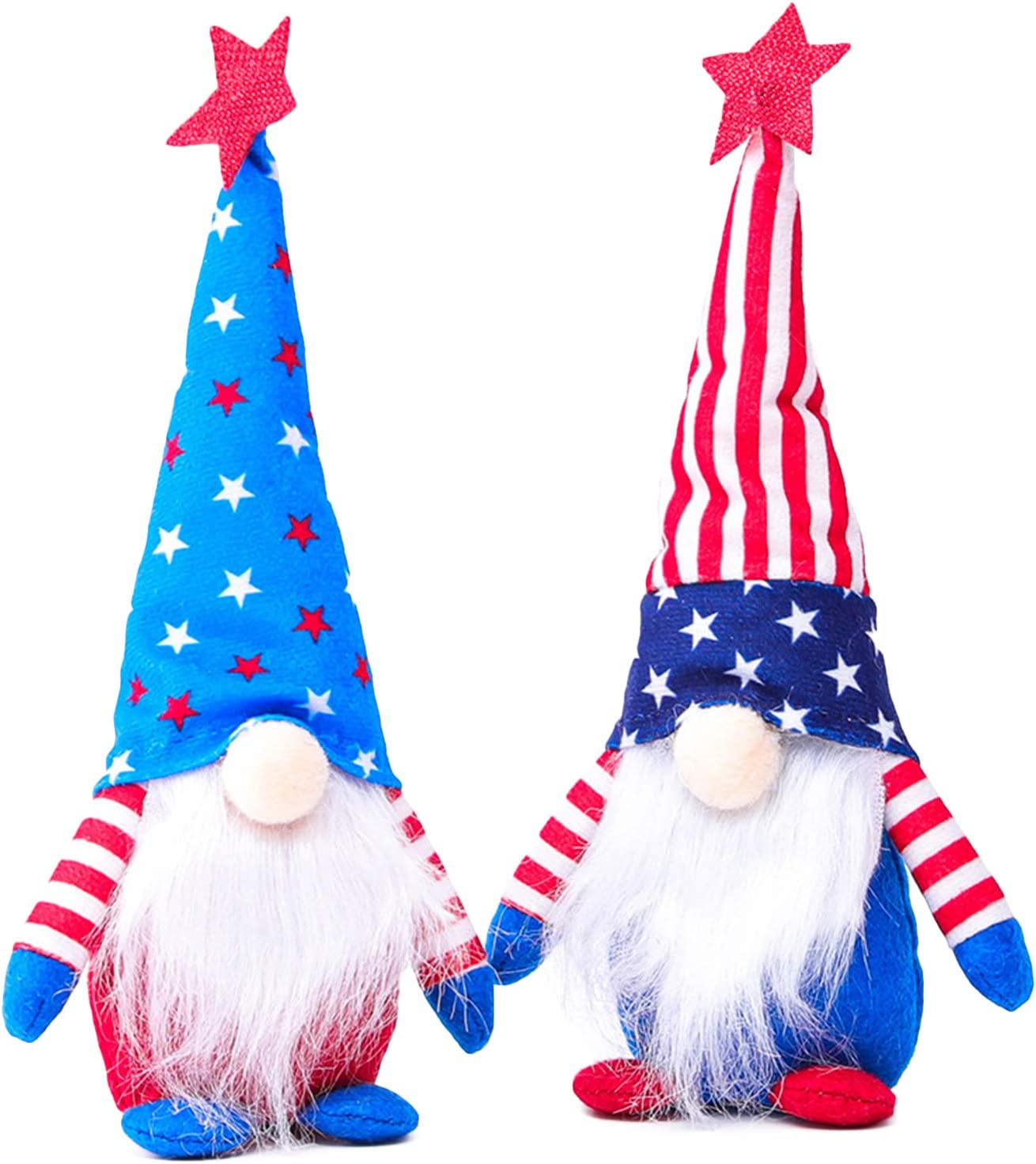 Mwfus Independence Day Gnome Plush Doll Top Hat Elf Cloth Dolls Adornment Table Decor for 4th of July Patriotic Party Supplies