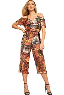 0949763d80eb WearAll Women s Strappy Cold Shoulder Floral Print Crepe Wide Leg Belted  Ladies Jumpsuit ...