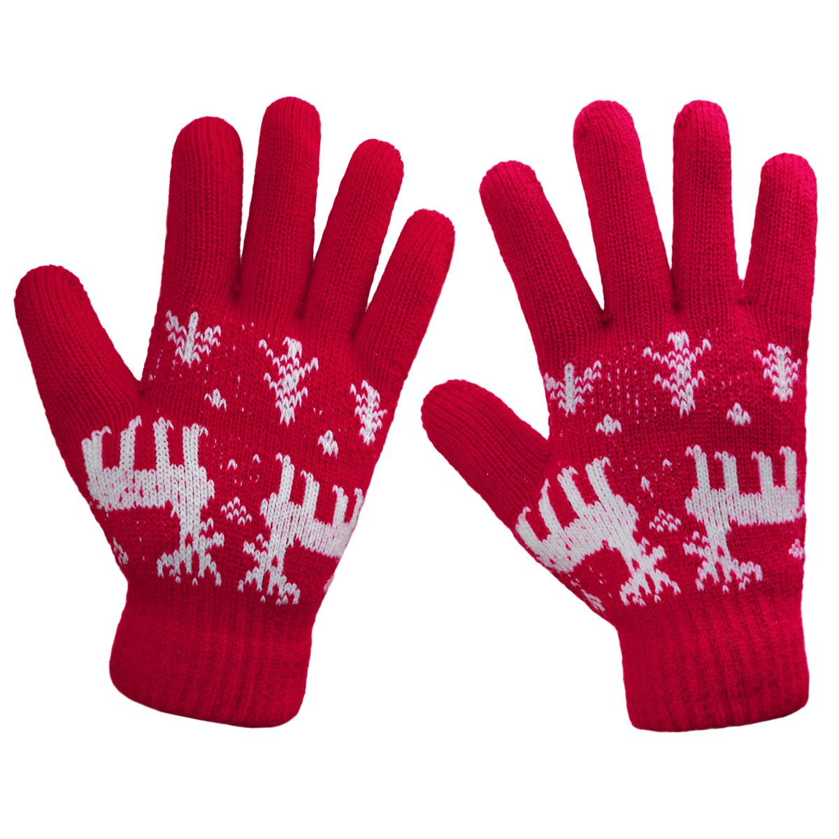 LETHMIK Christmas Thick Knit Gloves Winter Deer Knitted Warm Glove for Women&Girls Red,One Size (Superior Elasticity)