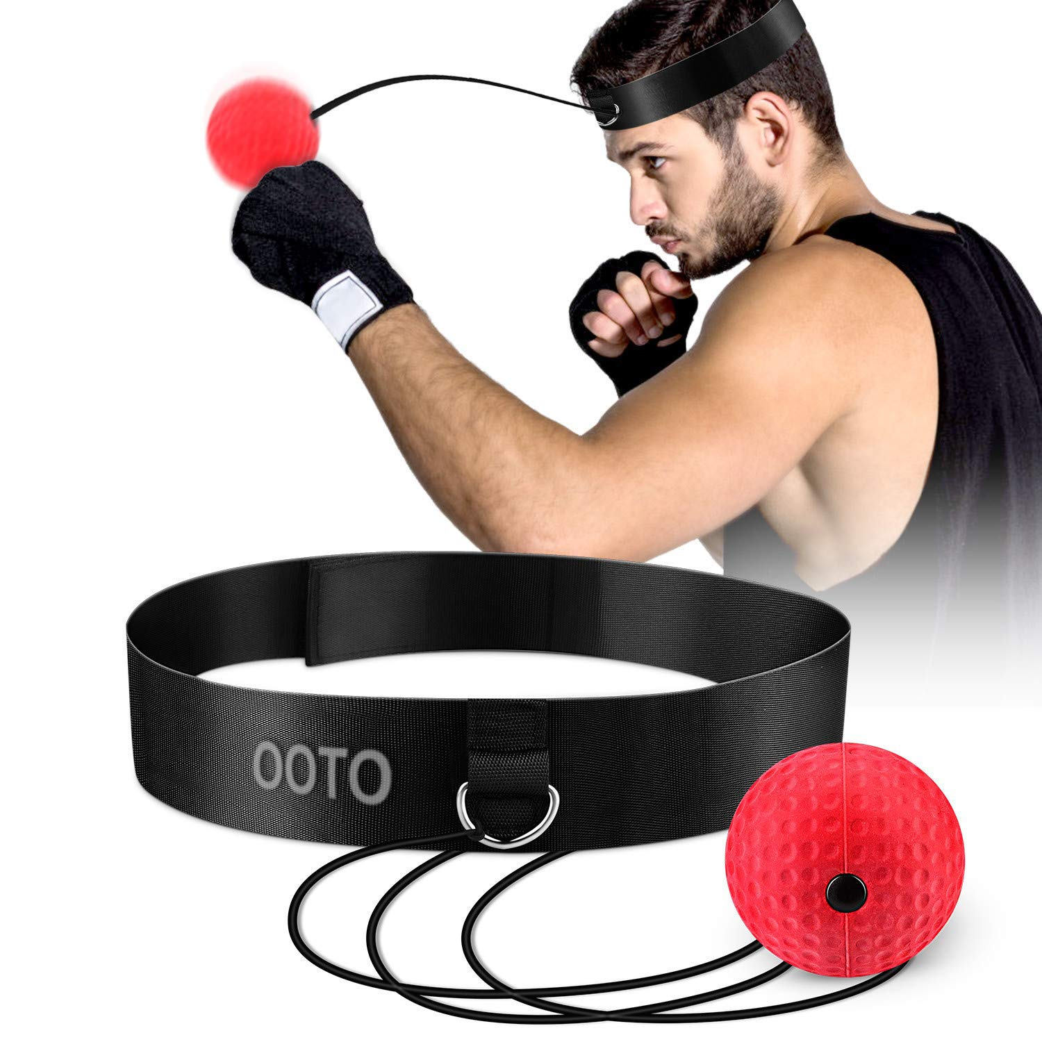 Hand Eye Coordination and Punching Accuracy For Adult//Kids Upgraded Boxing Reflex Ball Boxing Training Ball3 Speed Levels Boxing Fight Balls With Soft Perspiration Headband for improving Speed