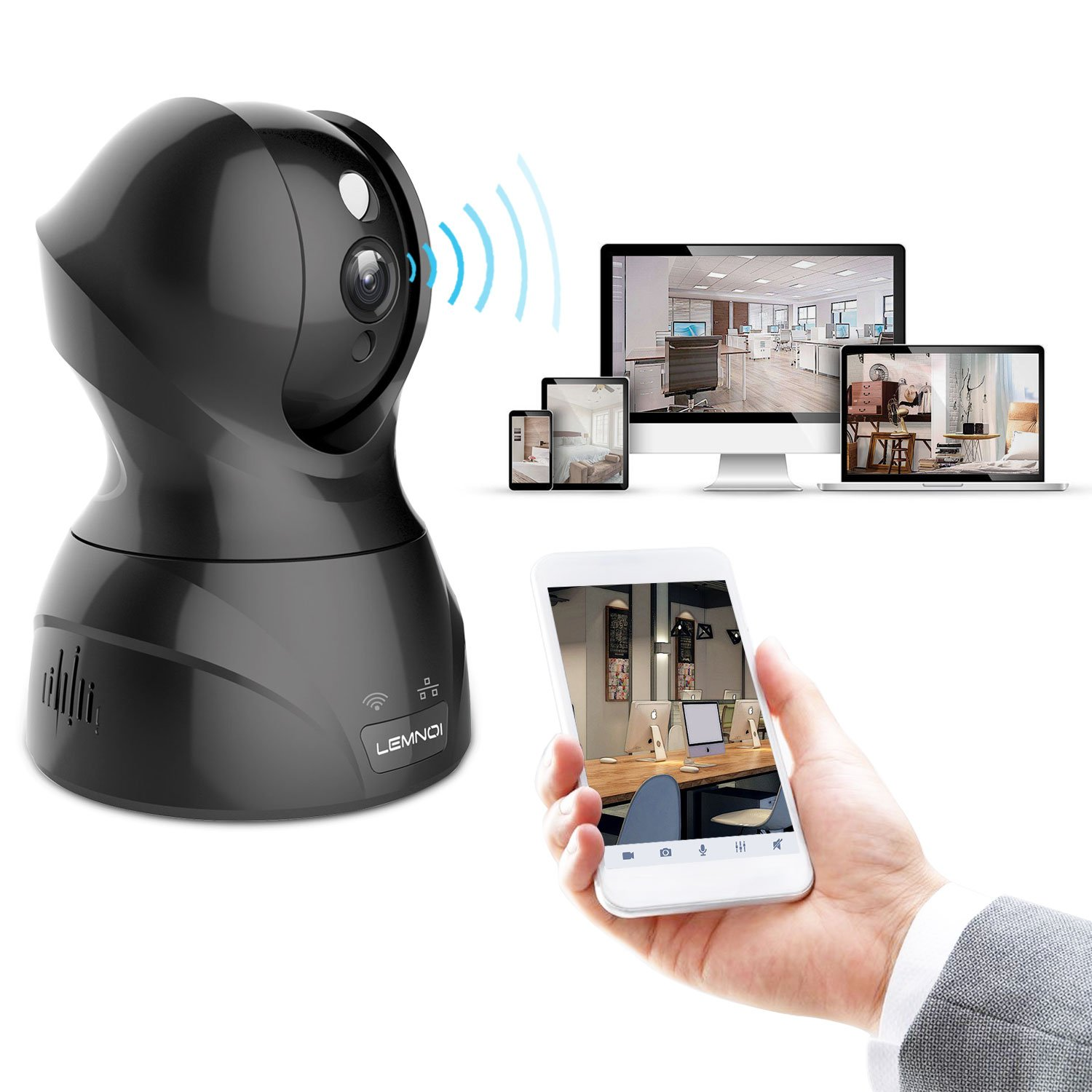 WiFi IP Camera 1080P, Lemnoi Wireless Security Camera Home Security Surveillance with Pan/Tilt/Zoom, Night Vision, Two Way Audio, Motion Dection Compatible with iOS/Android/Win (1080P)
