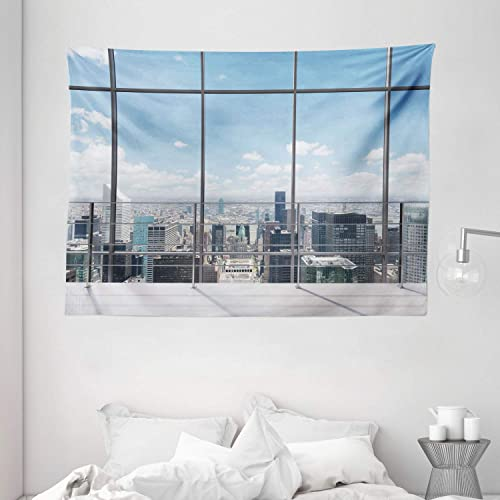 Ambesonne Urban Tapestry, Modern Office Work Place with View to City Architecture Contemporary Urban Plan, Wide Wall Hanging for Bedroom Living Room Dorm, 80 X 60 , Blue Grey