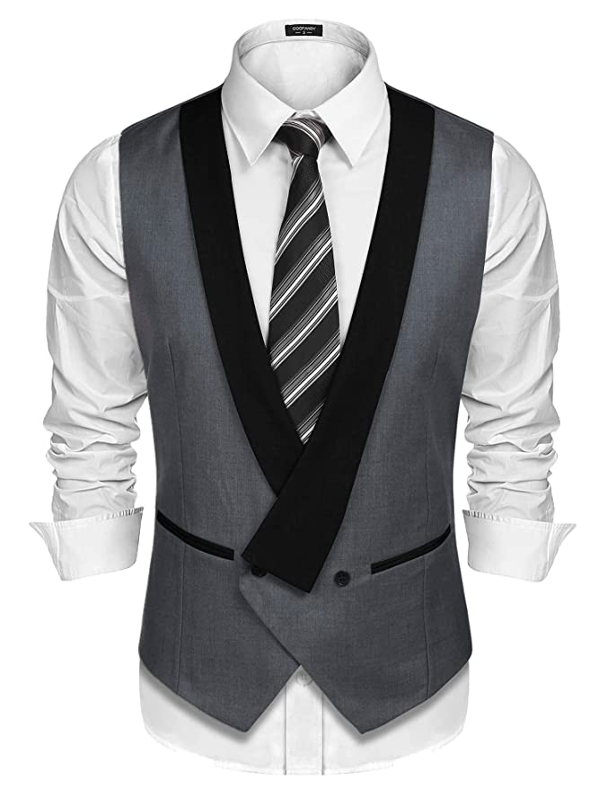 1920s Style Mens Vests COOFANDY Mens Pinstripe Suit Vest Slim Fit Casual Business Waistcoat Jacket Vests $16.99 AT vintagedancer.com
