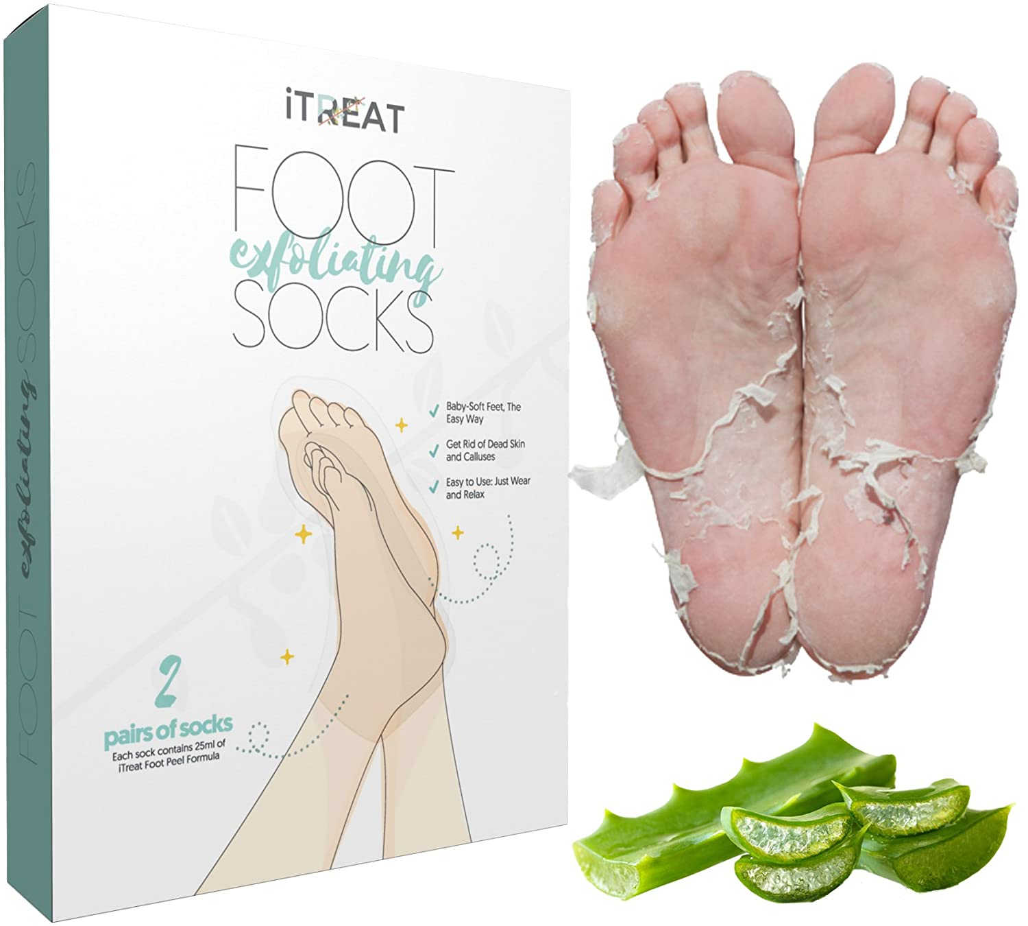 2 Pairs Foot Peel Mask, Remove Callus and Dead Skin Cells with Exfoliating Socks, get Baby Soft Feet in 7–10 days LTD