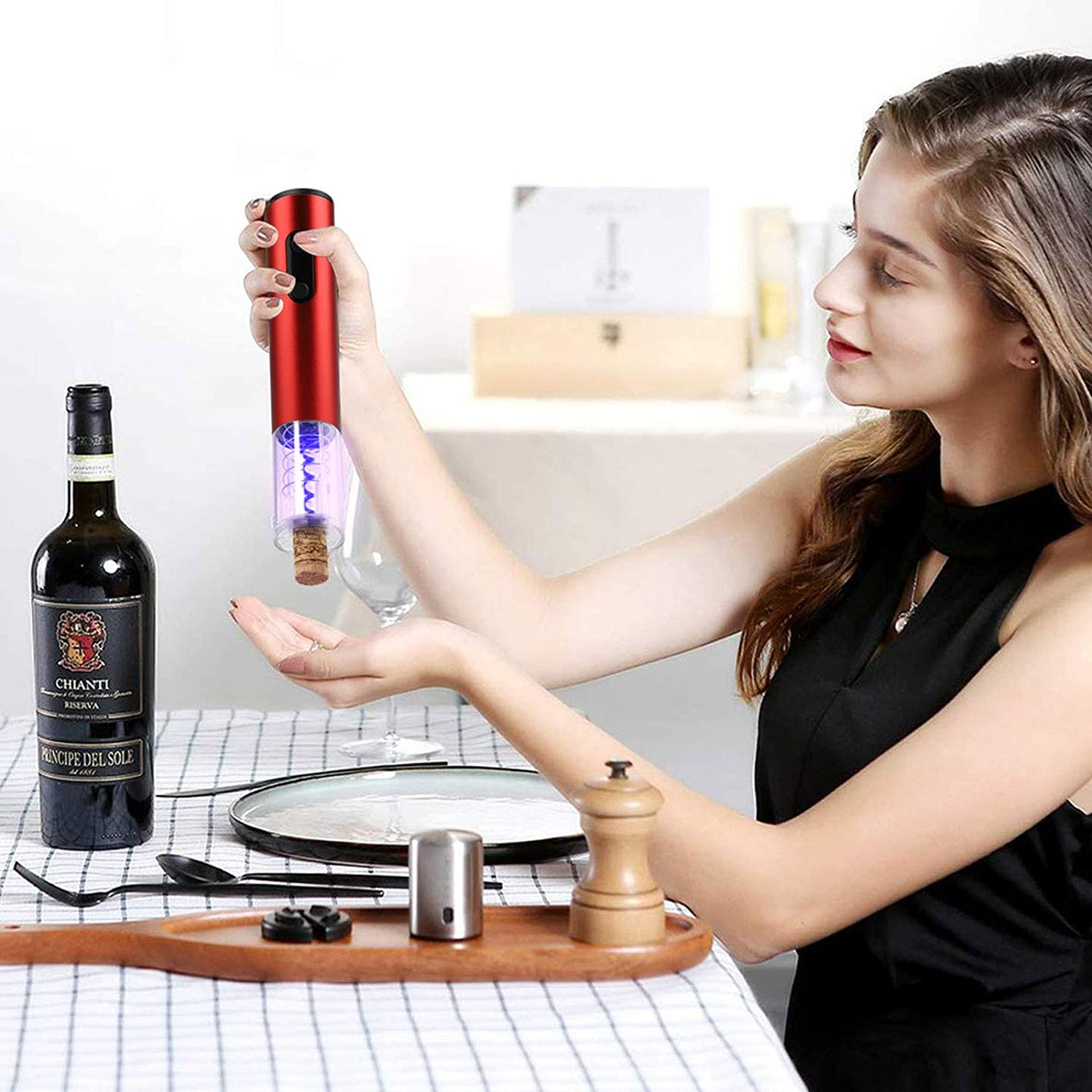 Elegant Helper for Wine Lovers Electric Wine Opener,with Charger and Aluminum Foil Cutting Machine Kit,Stainless Automatic Cordless Bottle Opener Wine Tool red