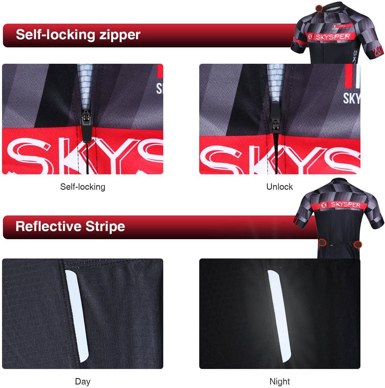 SKYSPER Maglietta da Ciclismo Professionale Uomo Maglia Ciclismo Maniche Corti Igroscopica e Asciugatura Rapida