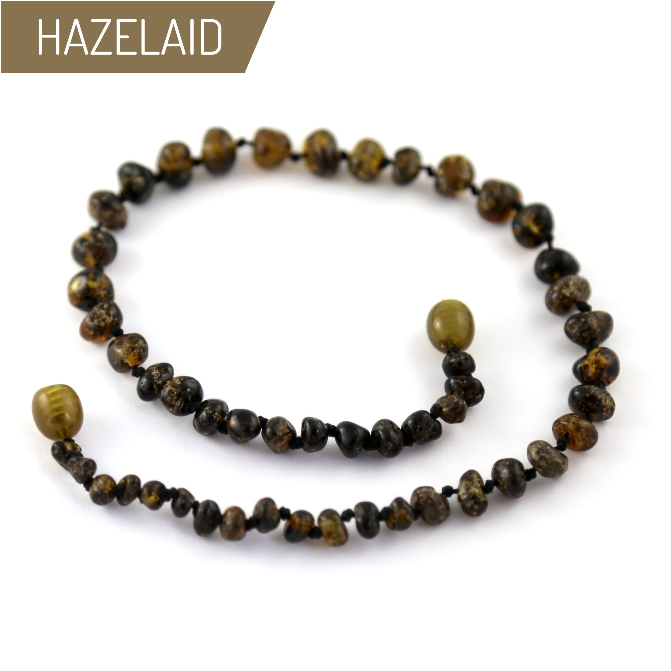 Hazelaid (TM) 12'' Baltic Amber Dark Green Necklace